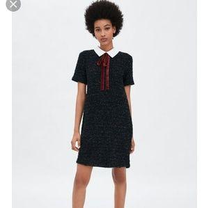 Zara tweed dress with velvet burgundy tie dress